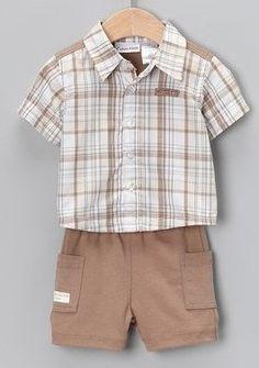 Calvin Klein Baby Boy's 2pc Tan Siamese Plaid « Clothing Impulse