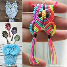 Learn the Macrame Owl Necklace Instructions while watching the short video tutorial. We have included Macrame Owl Wall Hanging Ideas for you too. Macrame Owl, Macrame Knots, Macrame Jewelry, Owl Jewelry, Crochet Dreamcatcher, Macrame Necklace, Macrame Bracelets, Jewelry Design, Owl Crafts