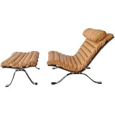 """Arne Norell Leather and Steel """"ARI"""" Chair and Ottoman c1970"""