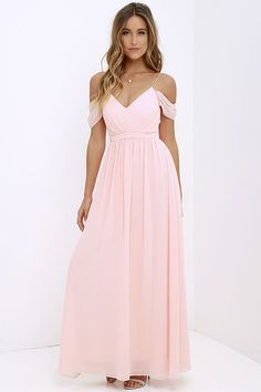 bridesmaids dress idea Quite the Charmer Peach Maxi Dress at Lulus.com!