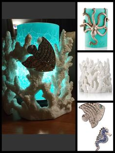 Pink Zebra- Coral Reef Shade, Octopus Shade, Sea Life Magnets, White Simmering Light