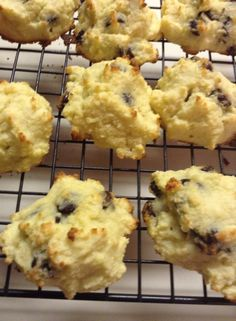 Chocolate chip cookies (Faith Hansen)  3/4 C coconut flour 1/4 tsp salt 2 tablespoons Pyure stevia (it is a blend with erythritol) 6 eggs 1/2 C melted butter 1/2 C chocolate chips  Mix dry ingredients (you may want to leave out your sweetener until the end) Whip 6 eggs together Add melted butter Mix in dry ingredients Add sweetener to taste Add chocolate chips Batter will be very soft Drop cookie dough onto greased cookie sheet and bake at 350 for 20 minutes Let cool
