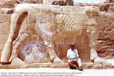 Nineveh. Nebi Junus. Polylithic lamassu at the excavation of the monumental entrance to a late Assyrian building east of the mosque. Statue is about 3 m. high. 7th cen. BCE.