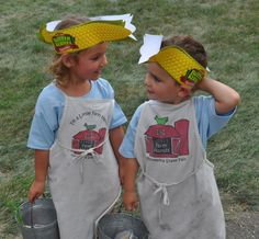 """These mini farmers look ready to do their chores at Little Farm Hands, a free mock farm exhibit for the littlest fair fans. (From """"Minnesota State Fair Birthday Party"""" as seen on """"Twin Cities Live"""".)"""