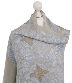 Soft 100/% Wool Pashmina Scarf Wrap Ladies Beige Indian Shawl Stole Gold Crystals