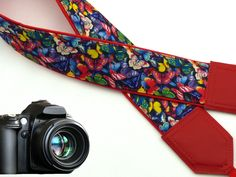 Camera strap with butterflies. Red DSLR / SLR Camera Strap. Camera accessories. 00030