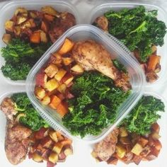 Another very yummy meal prep. Here we have our baked chicken, steamed kale and roasted oriental sweet potatoes.