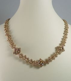 Woven Twin Bead Necklace Matte Gold by IndulgedGirl on Etsy