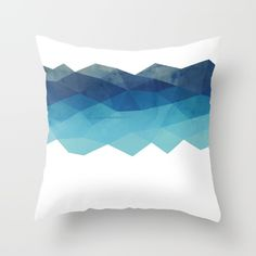 Fractal blue geometry Throw Pillow