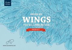 He will cover you with his feathers, and under his wings you will find refuge. His truth is your shield and armor. (Psalm 91:4) Illustration 38/52 | paintedverses.com