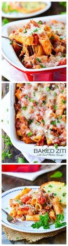 Baked Ziti with Sweet Italian Sausage   Garnish & Glaze