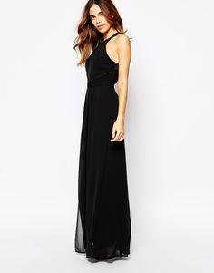 Warehouse Cross Back Maxi Dress- Cross back, skirt overlay split in middle, halter neckline