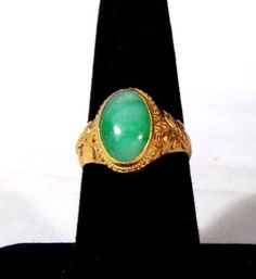 14K Yellow Gold 4 carat Oval Jade Stone Ring, size 7 2053 #Unbranded #Statement $375.00