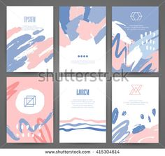 Set of brochures with hand drawn design elements. Vector templates. Trendy backgrounds, patterns and textures.
