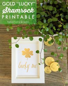 Print off this free Lucky Shamrock printable at Tatertots and Jello. An instant way to decorate for St. -- Tatertots and Jello Shamrock Printable, Saint Patricks Day Art, Luck Of The Irish, Free Printables, Diys, Diy Crafts, Clover Plant, Leaf Clover, Jello