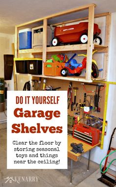 Organize your garage and reclaim floor space with this easy DIY garage storage solution. This is a quick and cost effective project.