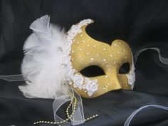 Gold masquerade mask, venetian masked ball, applique, bling feathers, masks ballroom beautiful ladies sparkly uk Labyrinth festival hen night,