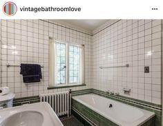 Retro Bathrooms, Vintage Tile, Shower Doors, 1930s, Bathtub, Standing Bath, Bathtubs, Bath Tube, Rustic Bathrooms