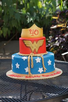Tiered Wonder Woman themed birthday cake