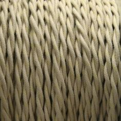 2-Conductor 18-Gauge Putty Cotton with Gold Tracer Twisted Pair Wire -- cloth-covered electrical wire