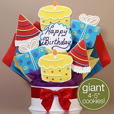 Happy Birthday Surprise Cookie Bouquet- 7 Piece