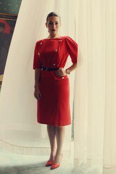 Ioana wearing Nina Ricci dress for Air France Air France, Christian Lacroix, Balenciaga, Cold Shoulder Dress, Costume, Elegant, How To Wear, Vintage, Designers