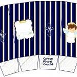 Caixa Pipoca Batizado Menino Azul Marinho e Branco
