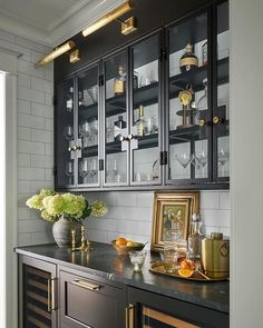 I like the art lights above the cabinets maybe for coffee bar I forget the ceiling in that space Glass Kitchen Cabinets, Upper Cabinets, Dining Room Cabinets, Bar Cabinets For Home, Dark Cabinets, Wet Bar Cabinets, Home Bar Cabinet, Glass Cabinet Doors, Cabinet Makers