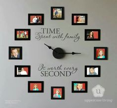 Materials: * Clock Kit from Uppercase Living (comes with mechanical parts and lettering) * Picture frames