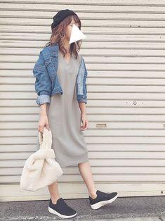 Instagram...dayofme0607(yumi.) code...デニムジャケットとファ