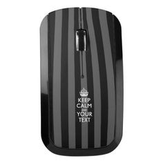 Easily KEEP CALM And Your Text on black stripes Wireless Mouse