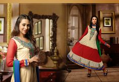USD 53.94 Karisma Kapoor Cream and Red Butta Work Long Anarkali Suit