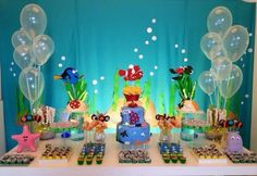 1st Boy Birthday, First Birthday Parties, Birthday Party Decorations, Bubble Guppies Birthday, Baby Shower, Finding Dory, Party Ideas, Baby Shark, Dessert Table