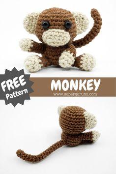 Crochet Monkey Pattern, Crochet Keychain Pattern, Crochet Dolls Free Patterns, Christmas Crochet Patterns, Crochet Designs, Crochet Gifts, Cute Crochet, Crotchet, Single Crochet Stitch