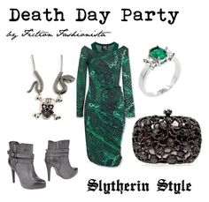 Death Day Party - Slytherin Style by eva-gabrielle-thompson on Polyvore featuring polyvore, fashion, style, McQ by Alexander McQueen, Francesco Milano, Fantasy Jewelry Box and clothing