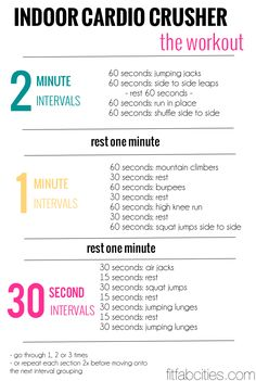 indoor cardio workout. Looks like a good one