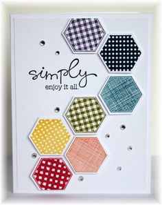 Card Making Inspiration, Making Ideas, Hexagon Cards, Stampin Up Karten, Stamping Up Cards, Card Sketches, Cool Cards, Diy Cards, Paper Cards