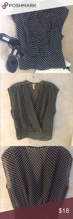 Sheer CHENAULT top Black/grey polka dot sheet top with gathered bottom on back. 100% polyester. Gently worn. Chenault Tops Blouses