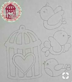 Embroidery Patterns of A Lot of Little Birds. Art Drawings For Kids, Drawing For Kids, Easy Drawings, Quiet Book Templates, Felt Templates, Foam Crafts, Diy And Crafts, Paper Crafts, Hand Embroidery Patterns