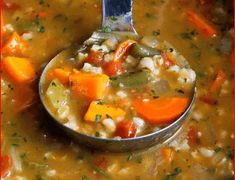 Ingredients 1 yellow onion, chopped 2 carrots, cut into ½-circles 2 stalks celery, chopped 1 medium sweet potato, peeled and cu. Homemade Veggie Soup, Vegetable Barley Soup, Apple Fritter Bread, Sunshine Cake, Cream Of Chicken Soup, Cake Recipes, Veggie Recipes, Dessert Recipes, Cooking Recipes