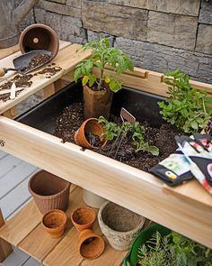 Potting Bench - Cedar Potting Table with Soil Sink | Gardeners.com