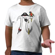 Funny Pi rate Pi Day Humor T-shirts. Funny Pi-rate shirts and gift ideas for those that celebrate Pi Day every day and more specifically honoring Pi Day on March 14th at 1:59 PM- that's 3.14159... Pi Day should never end. Featured is Pi as a swashbuckling pirate armed with eye patch, sword, peg leg and of course a parrot. Our Pi-rate Gear makes a great gift for your math teacher. Math teachers can also give Pi Day stickers and Buttons to students.