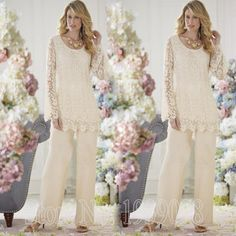 2016 Elegant Two Piece Mother Of The Bride Pant Suits Long Sleeve Lace Chiffon Trouser Suit Bride Mother vestidos mae da noiva