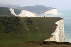The Seven Sisters--The Seven Sisters are a series of chalk cliffs that run between Seaford and Eastbourne. Often they act as stand-ins for the white cliffs of Dover in films, as the Dover cliffs are too developed.