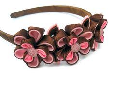 Headband with flowers chocolate pink. For girl. от KatyaFantasy, $16.00