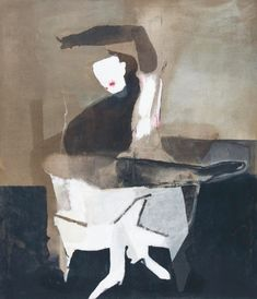 "terminusantequem: ""Teresa Pągowska (Polish, Landscape with a figure, Mixed media on canvas, x cm "" Thing 1, Magritte, Renoir, Mixed Media Canvas, Face And Body, Still Life, Polish, Statue, Landscape"