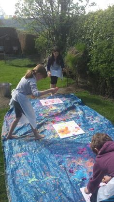Easter outdoor painting activity, egg shells filled with paint!
