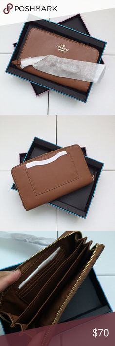 """BRAND NEW Caramel Coach Wallet Brand new, with tags!  Coach BP SMTH ZIP CASE in the color """"Saddle"""" Coach Bags Wallets"""