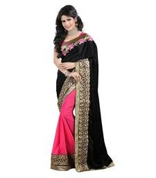 Buy Black and pink embroidery half saree with blouse half-saree online