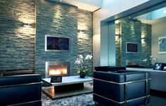 Luxury Interior Design Ideas with Ventless Fireplaces by NY Hearth Cabinet Gel Fireplace, Fireplace Surrounds, Fireplace Design, Modern Fireplace, Fireplace Ideas, Fireplace Hearth, Luxury Interior Design, Interior Exterior, Stucco Exterior